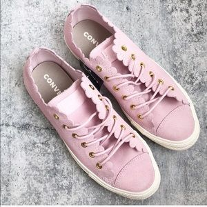 Converse Pink Suede Scalloped Sneaker